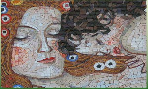 mosaico madre e figlio